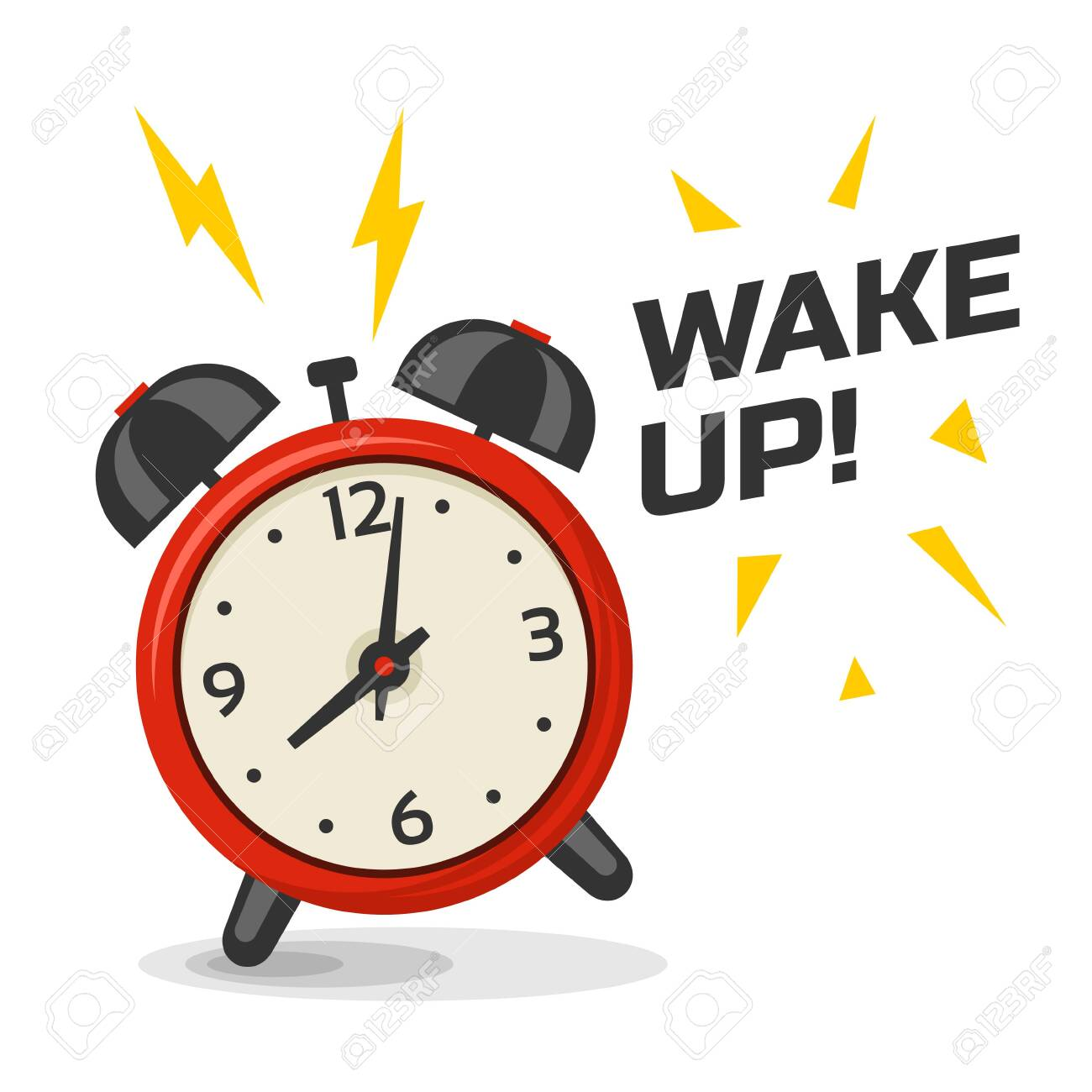 Wake up alarm clock with two bells vector illustration. Cartoon isolated dinamic image, red and yellow color morning alarm clock - 130788797
