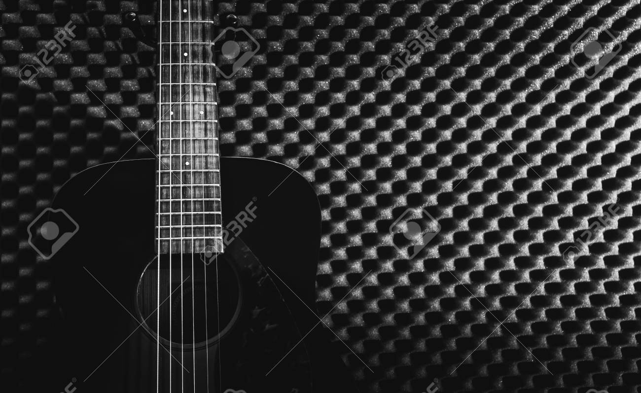 Acoustic Guitar In Recording Studio For Music Background Black