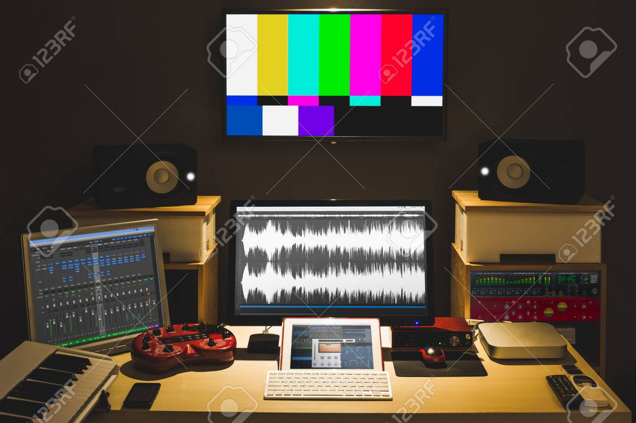 digital audio editing studio for TV broadcasting, spot ads, music