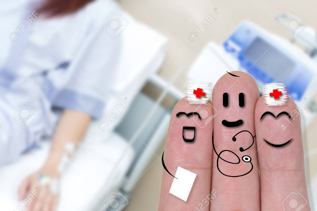 Finger Art Of Smiling Doctor Nurse With Iv Solution In A Female