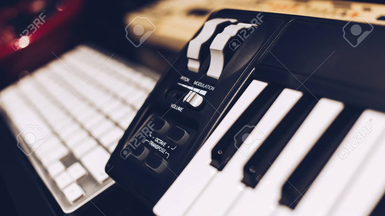 studio keyboard controller  shallow dept of field, music production