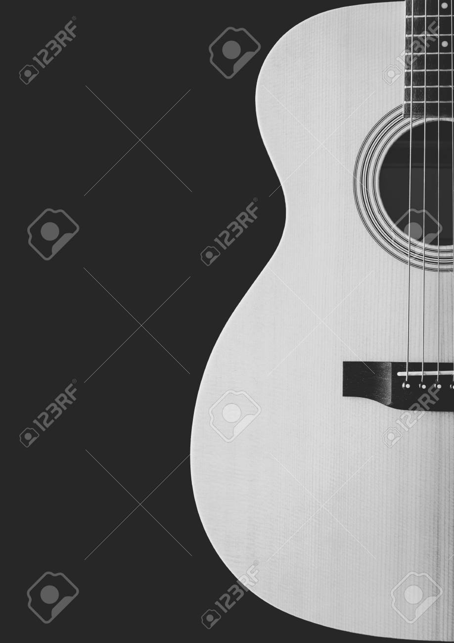 Black And White Acoustic Guitar Showing Curve Of Body Shape Stock
