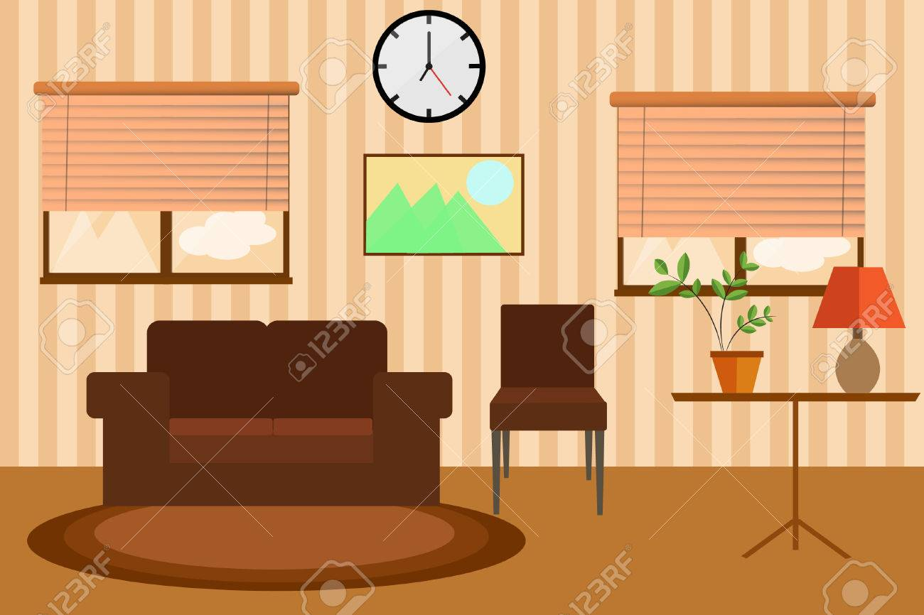 Living Room Windows Sofa And Clock In Warm Colors. Royalty Free ...