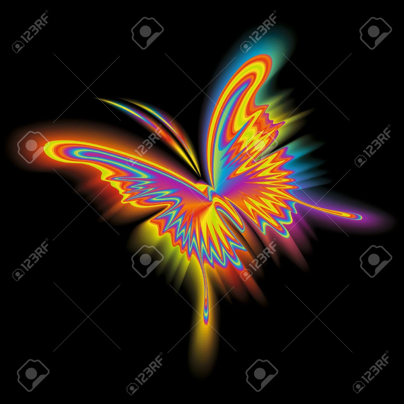 Abstract rainbow butterfly in flight on a black background. Vector illustration. Stock Vector - 10708228