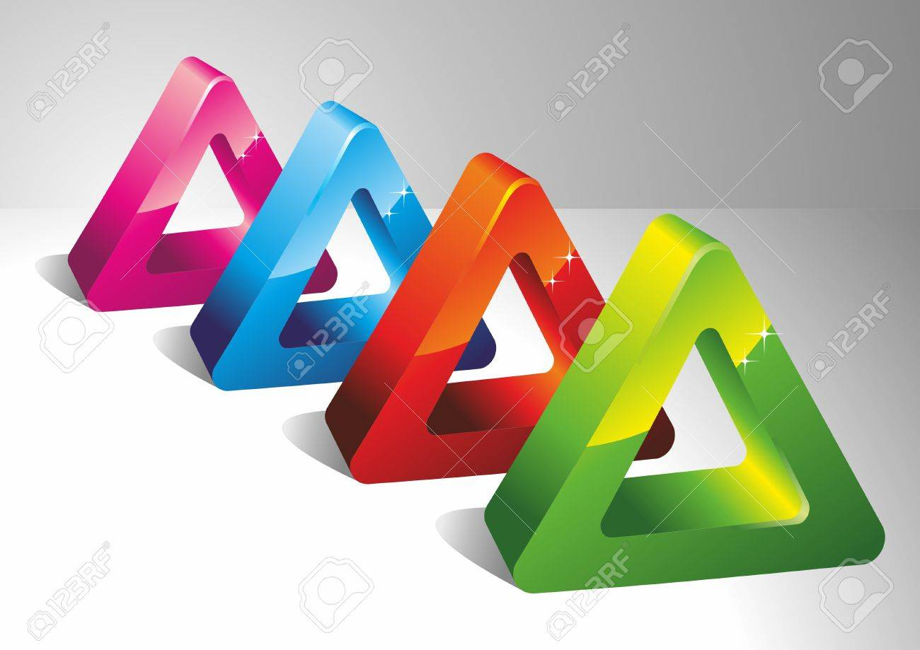 3D color triangles. Geometrical forms. A vector Stock Vector - 10952186