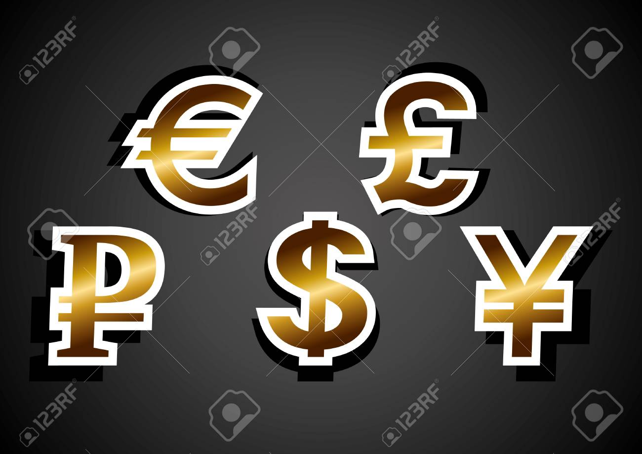 Currency Symbols Euro Dollar Ruble Pound Yen Abstract Vector