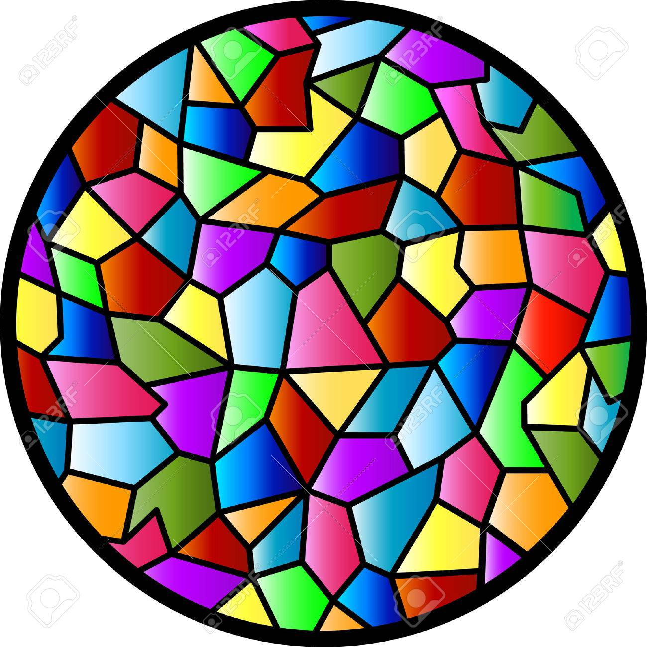 This design was inspired by the texture of a glass panel in my kitchen. I've also always admired the round window of the house opposite mine, so I merged the two, added colour, and there you have it - Stained Glass Circular Window!! Stock Vector - 5603998