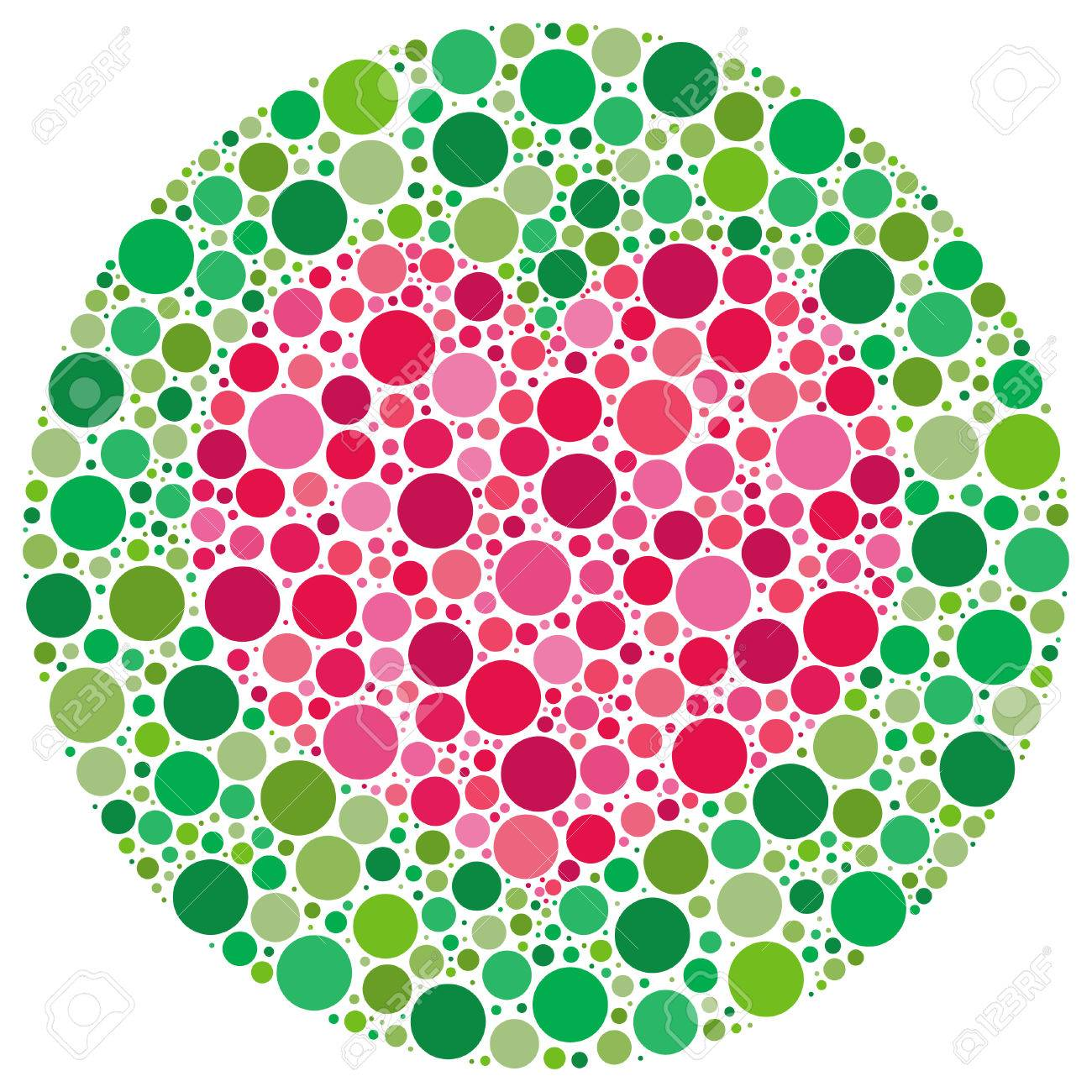 Heart shape made of circles, inspired by colour blind tests. The vector version has the heart and main circle templates as a hidden layer. Stock Vector - 7219623