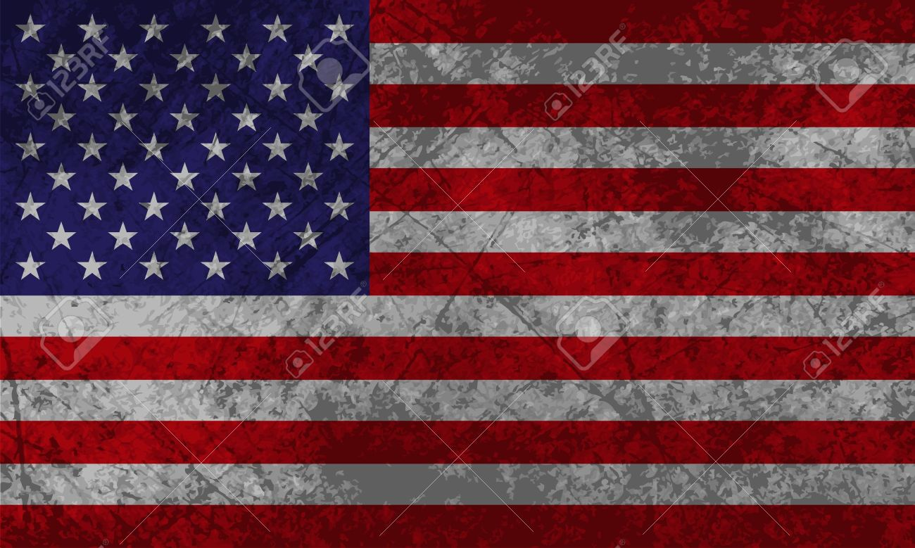 American Flag With Grunge Texture Effect Stock Vector