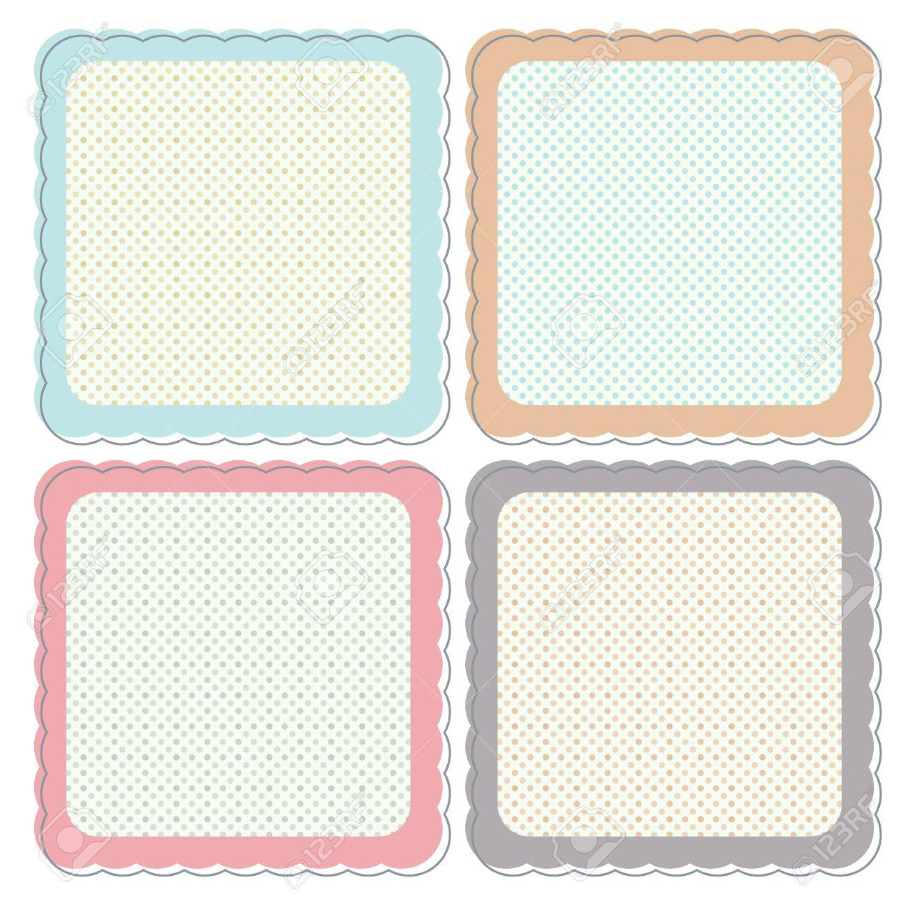 a set of cute retro icons or frames in pastel colours. these