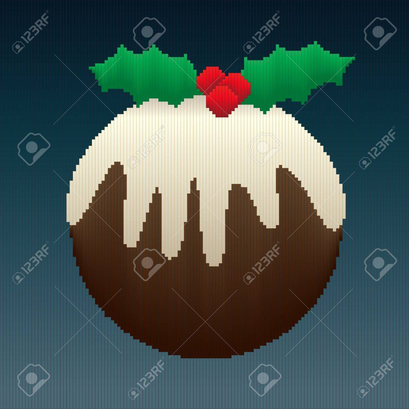 A Christmas pudding design made entirely of stripes in coloured gradients giving an 8-bit look to the image. Stock Vector - 15408234