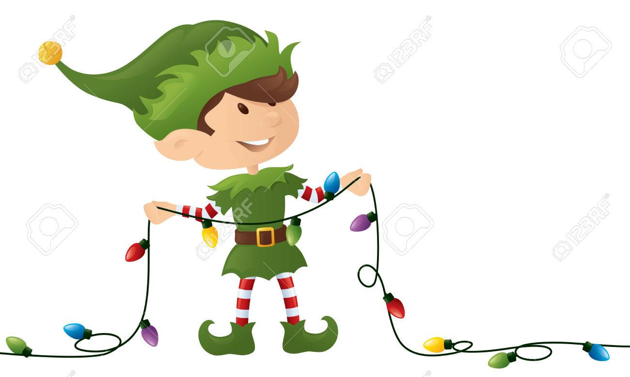 Little Elf Holding A String Of Christmas Lights. Royalty Free ...