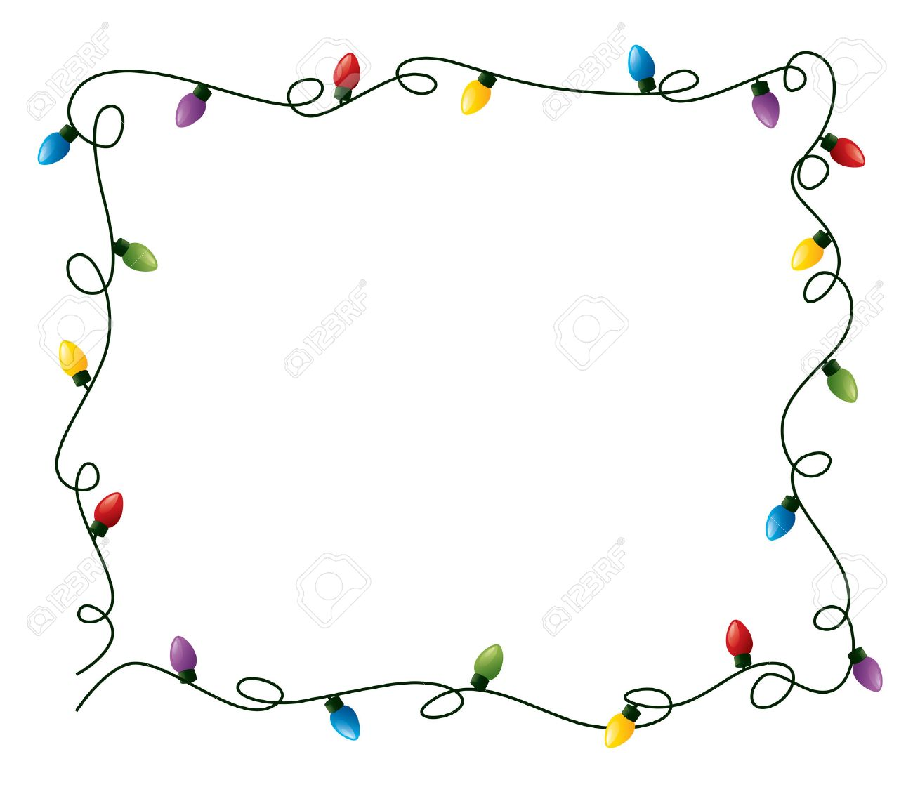 Curly Fairy Lights Frame Stock Vector
