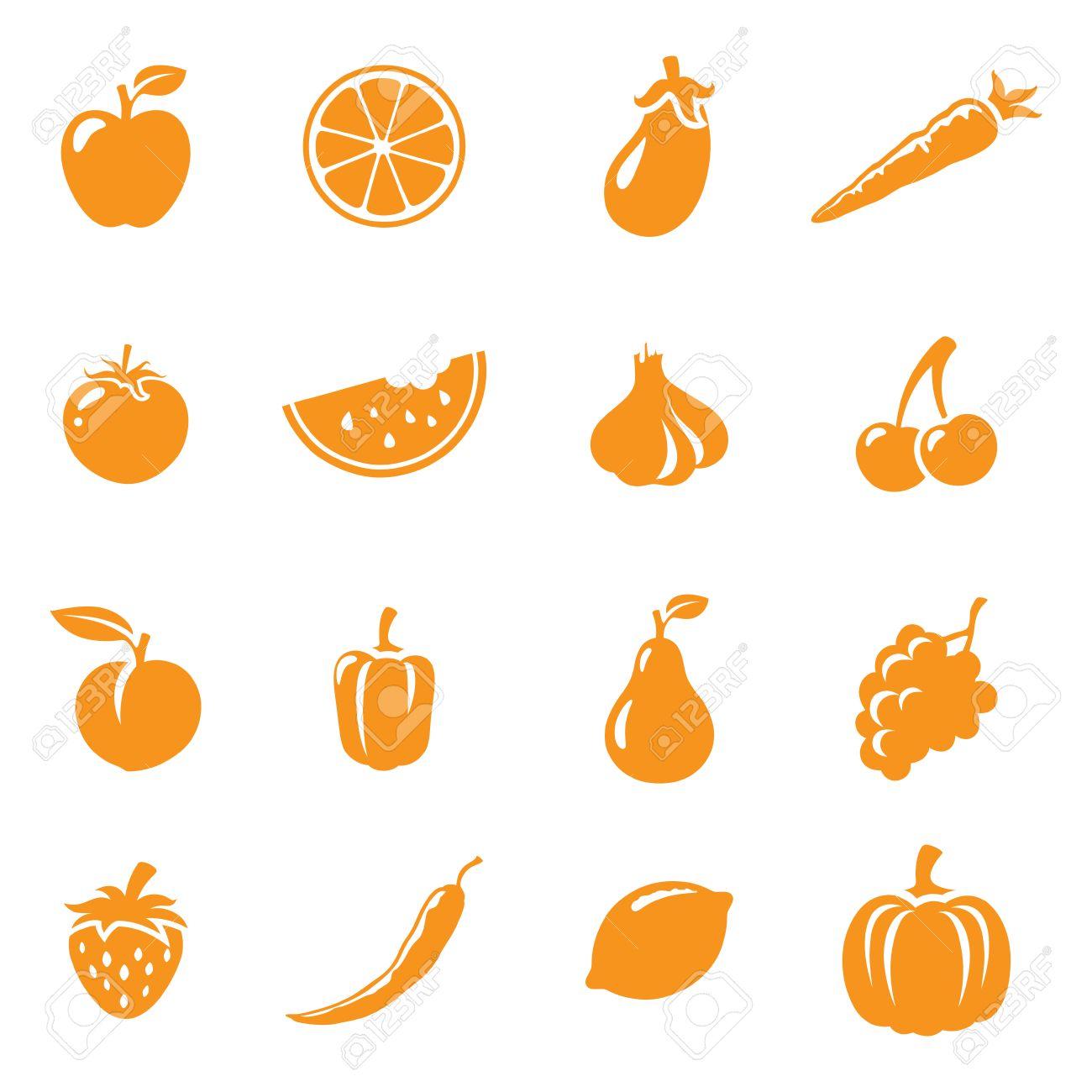 16 果物と野菜のアイコン簡単に色を変更しますのイラスト素材