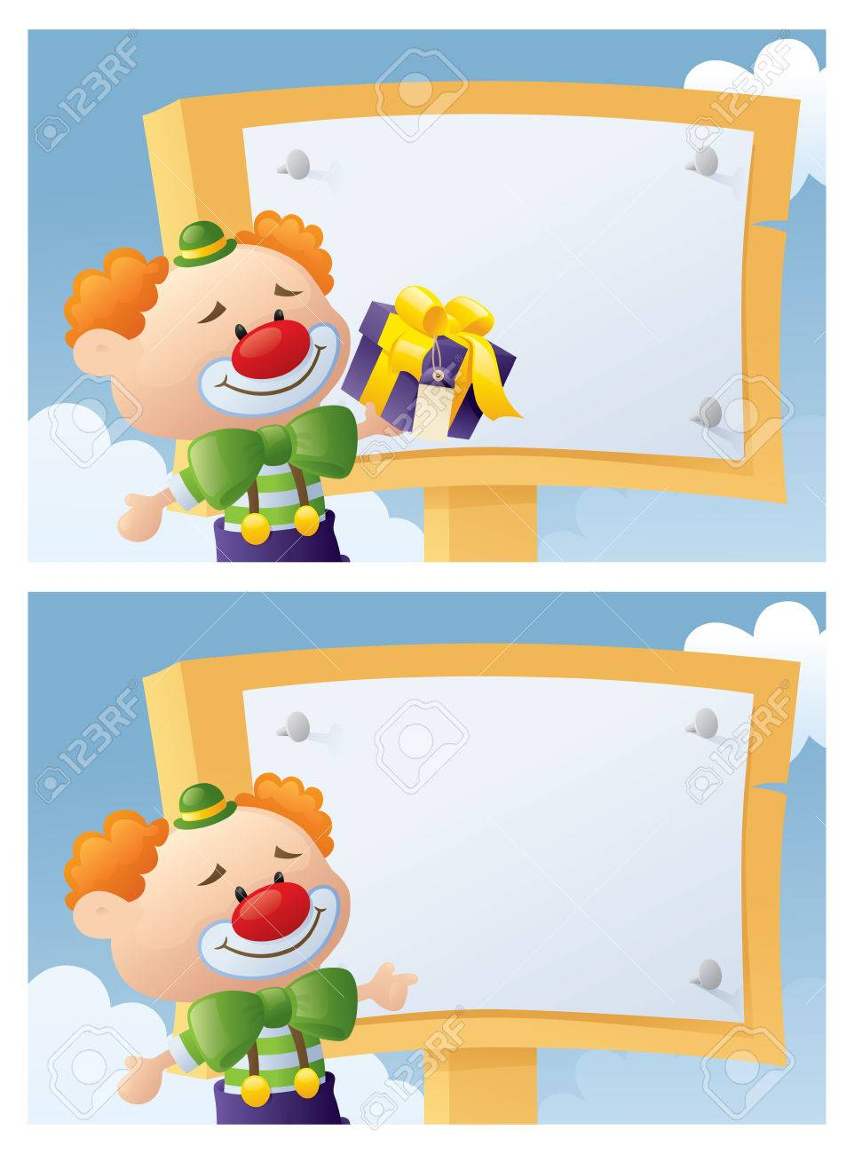 clown with message board for your invitations royalty free cliparts