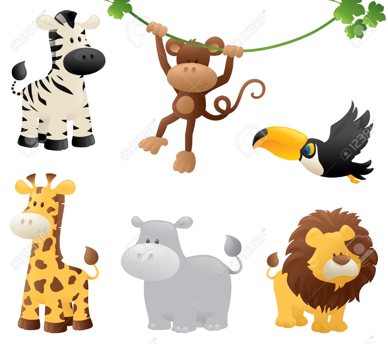 Six Jungle Animals Royalty Free Cliparts Vectors And Stock Illustration Image 32711207