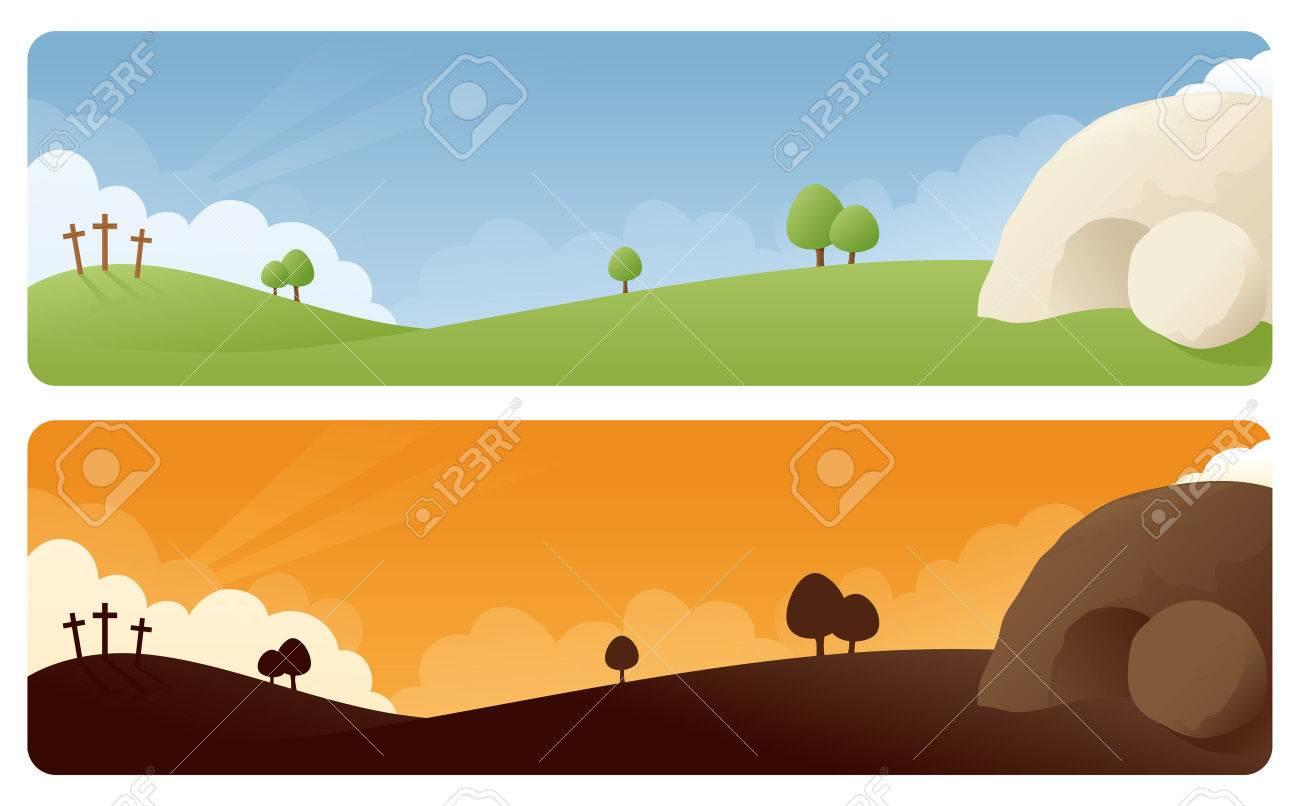 Resurrection scene banners in daylight and sunrise/sunset. - 32712772