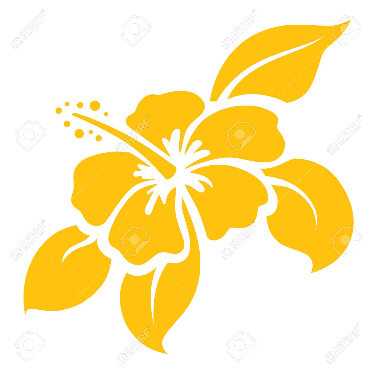 Hibiscus icon/stencil - gradient free and easy to change colour. - 33821929