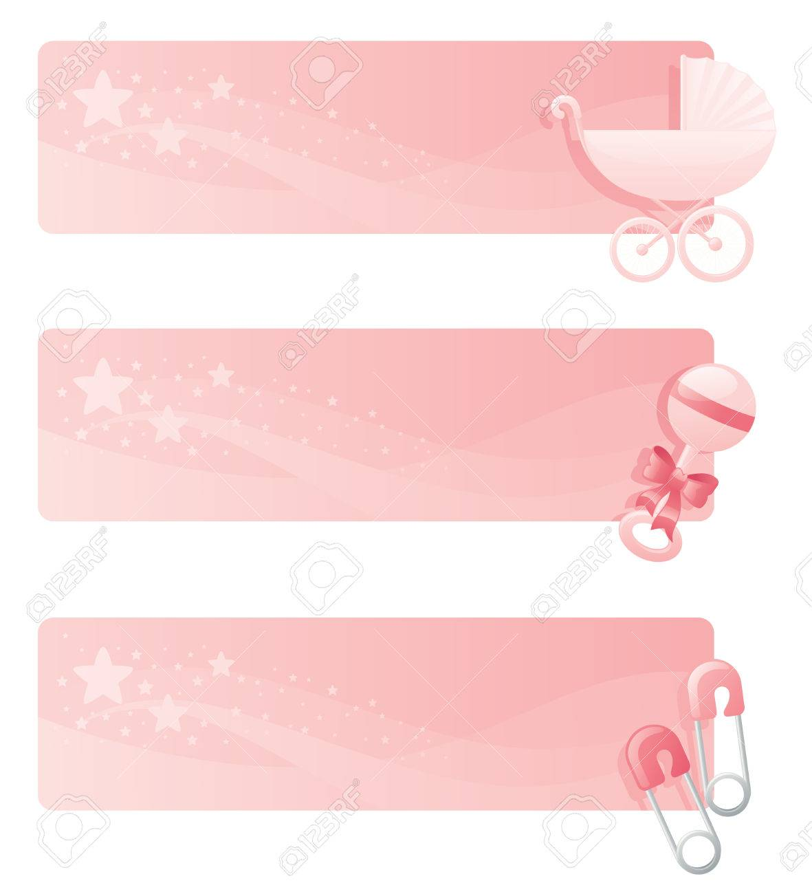 pink baby girl banners with pram rattle and diaper pins royalty