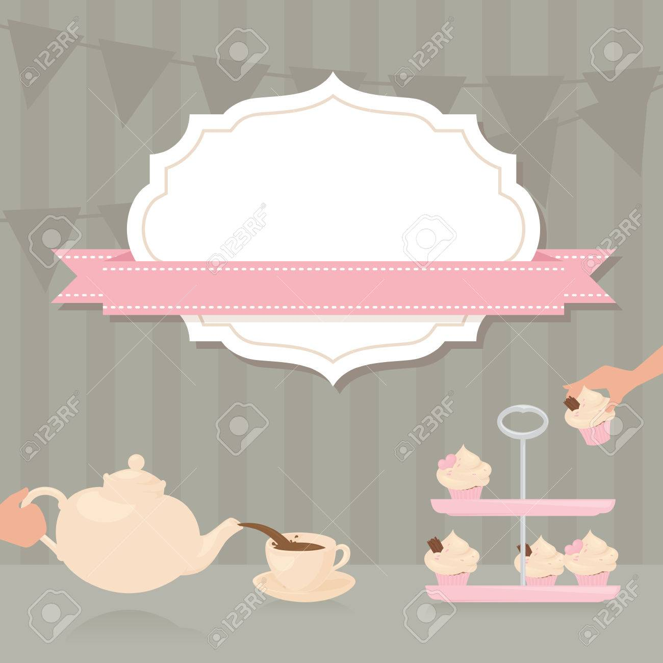 Elegant tea party invitation template with teacups cartoon vector - Tea Party Invitation With Copy Space Stock Vector 40920318