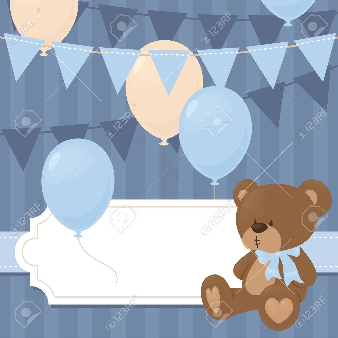 Babyparty Einladung Im Blau. Lizenzfreie Bilder   40920326