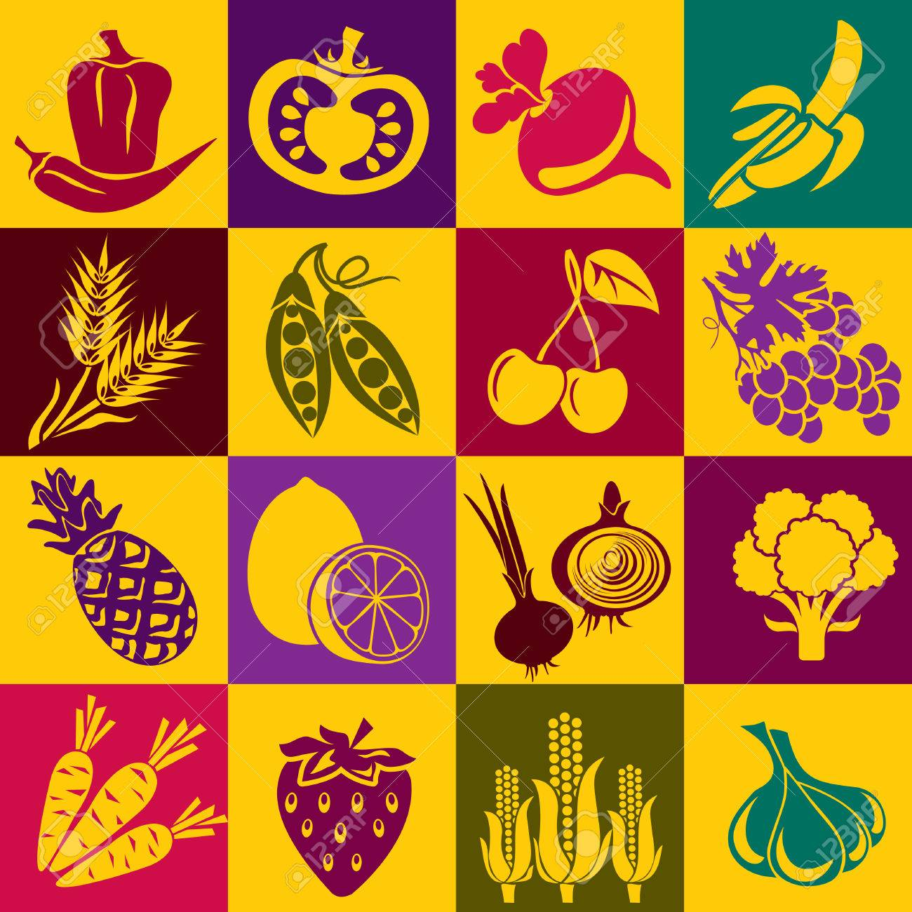 Seamless background with colorful symbols of fruits and vegetables. Alternation of light and dark cells - 7300432