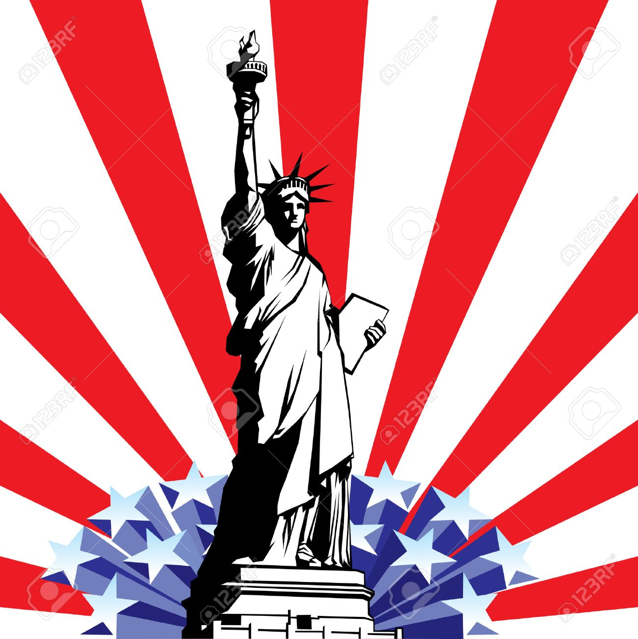 Image Of American Symbols Of Freedom Statue Of Liberty On The