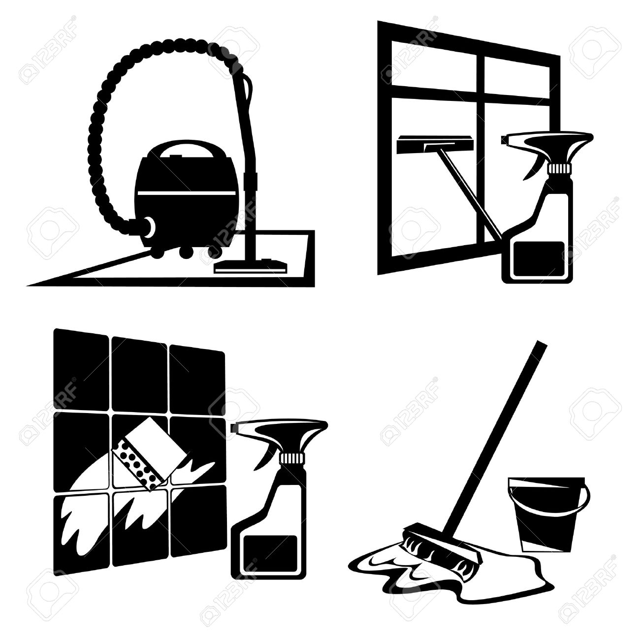 silhouette icons of black cleaning, washing and maintenance of cleanliness - 7309087