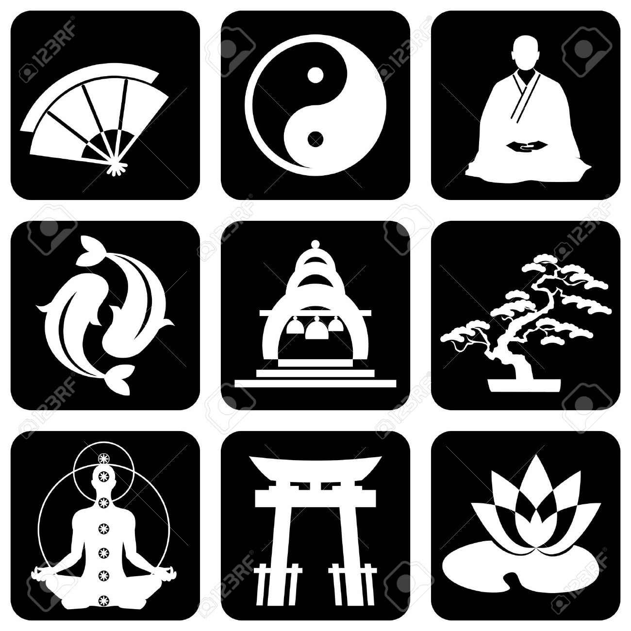 Berühmt Set Of Icons Von Religiösen Buddhismus Zeichen Und Symbole #YF_07