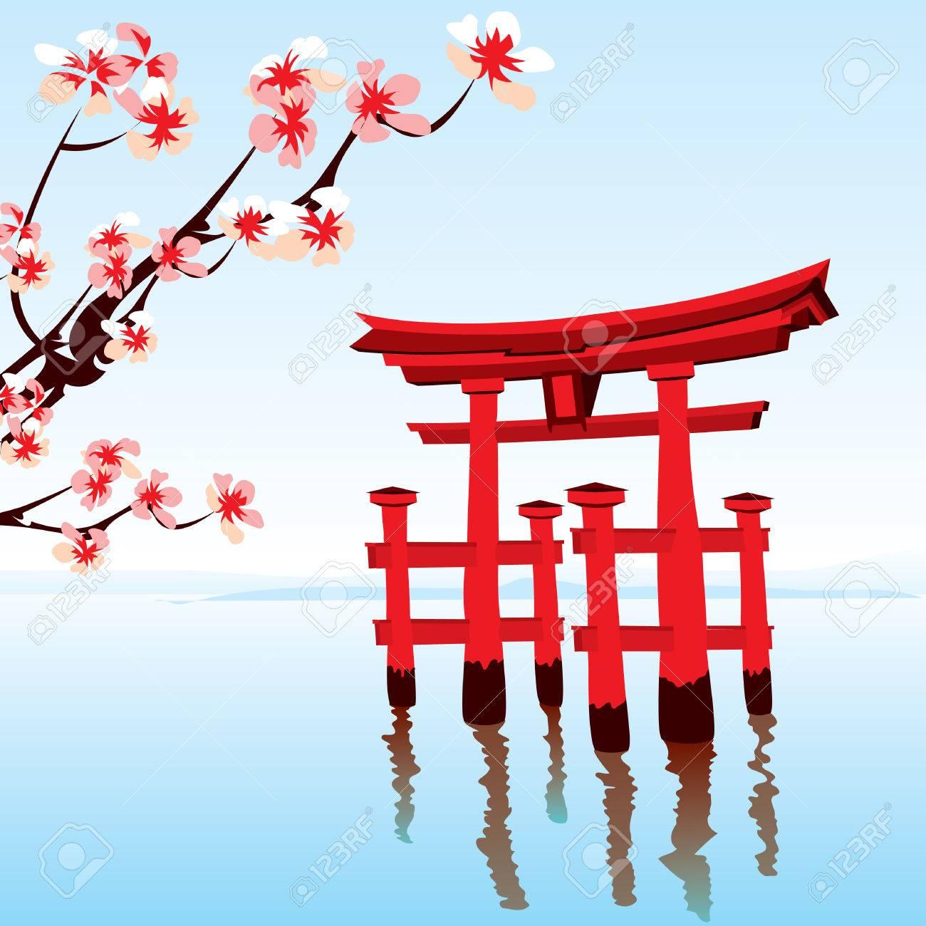 Japans landschap japanse landschap ochtend op het meer met een rode overstroomde de tempel
