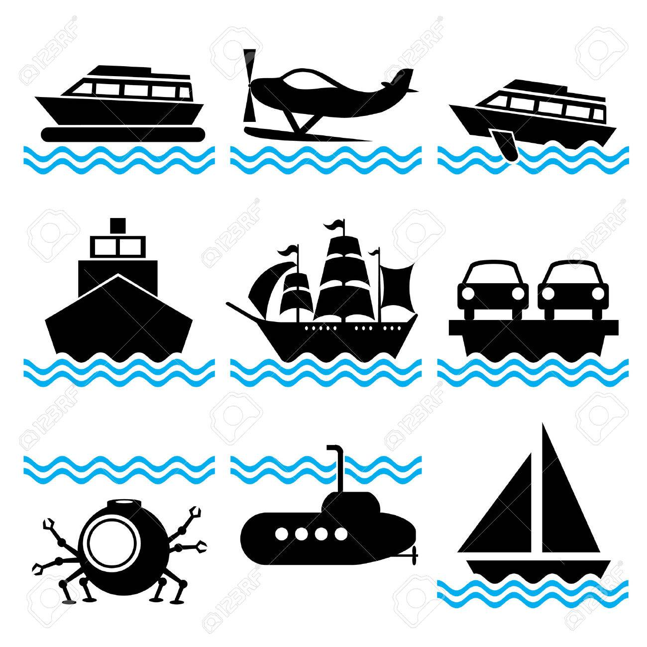 set of silhouette icons on marine vessels and transport Stock Vector - 7353875