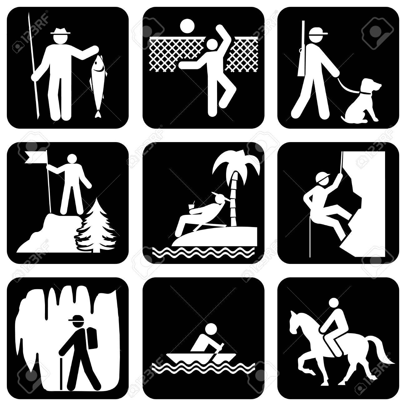 set of vector silhouette icons on the active leisure Stock Vector - 7353884