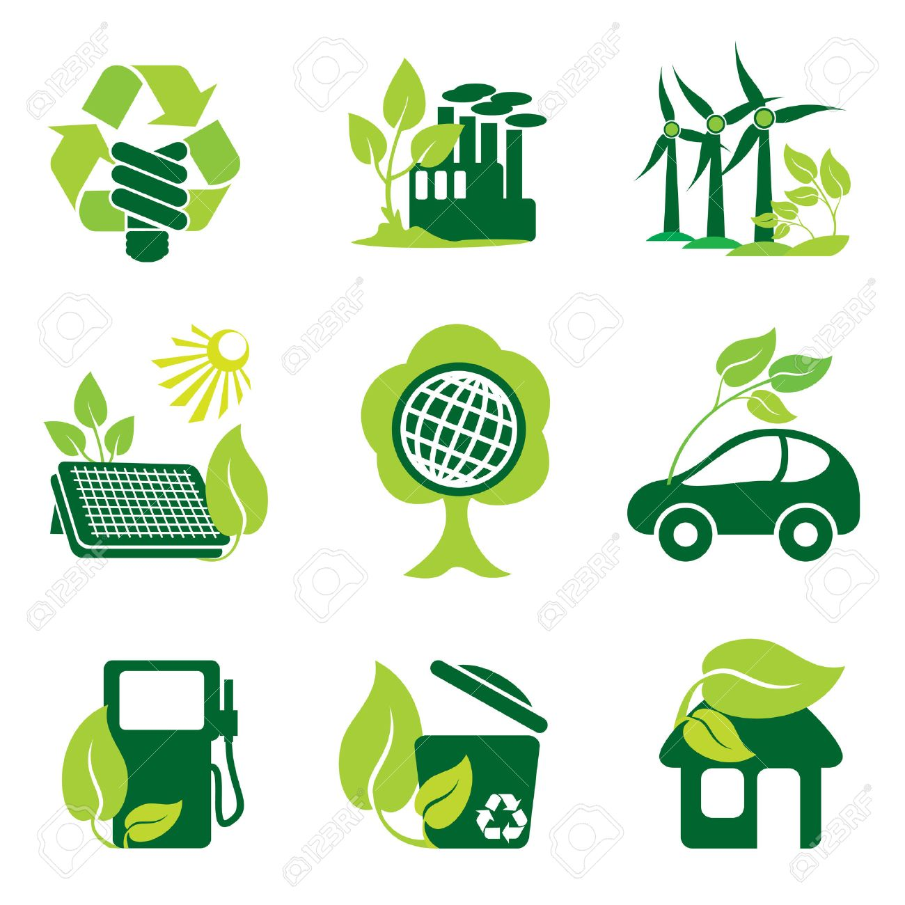 set of icons of environment protection and renewable sources of power Stock Vector - 7353880