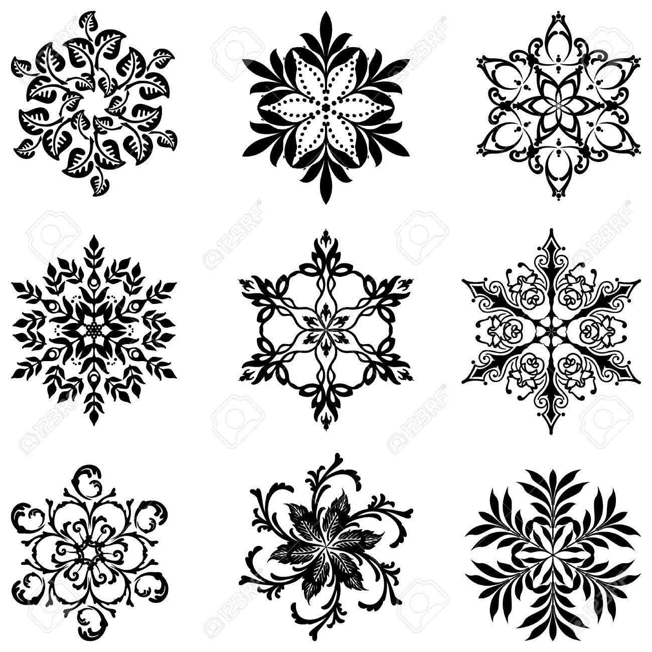 Set silhouette  of ornament snowflakes Stock Vector - 7441788