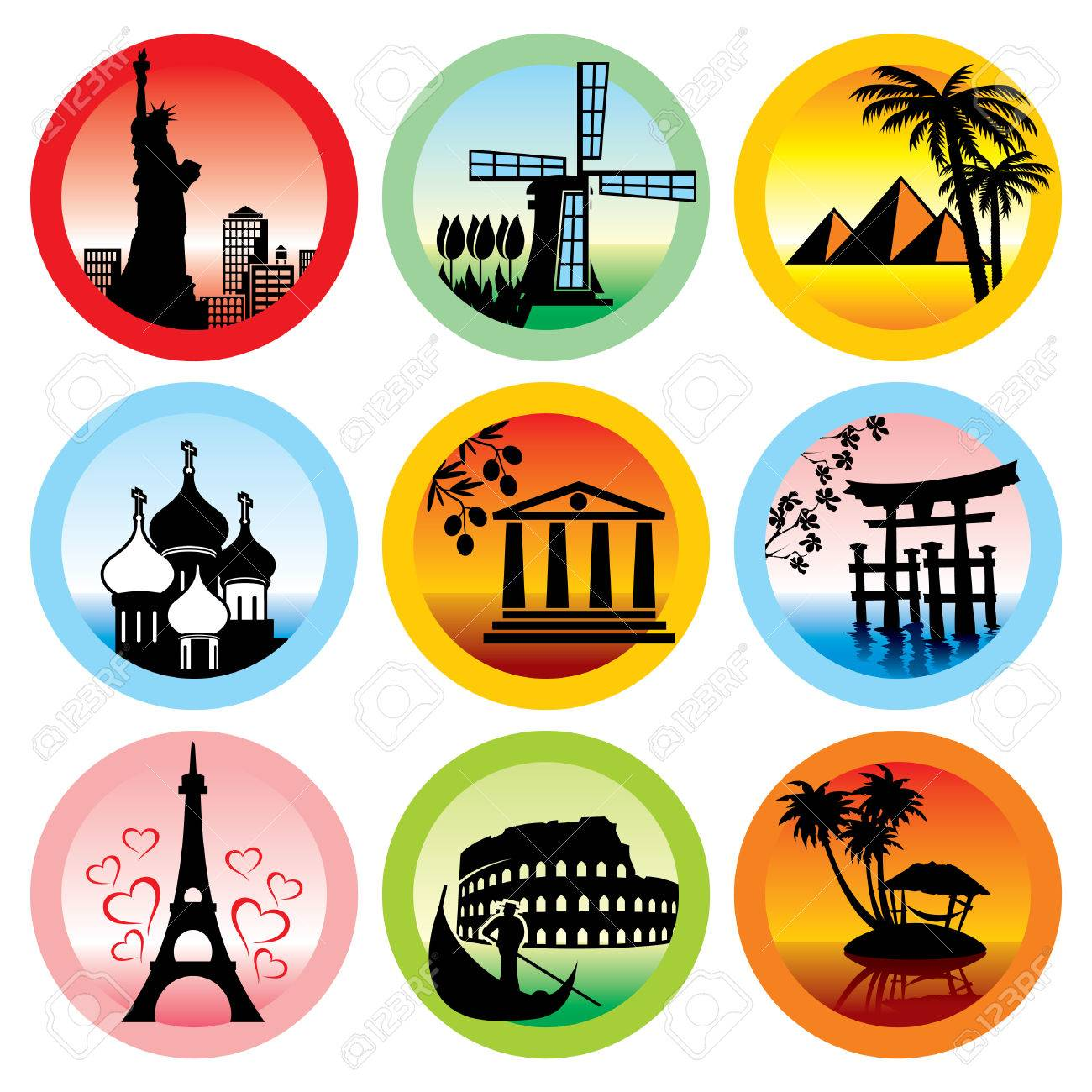 set of icons for travel to various countries Stock Vector - 7441799