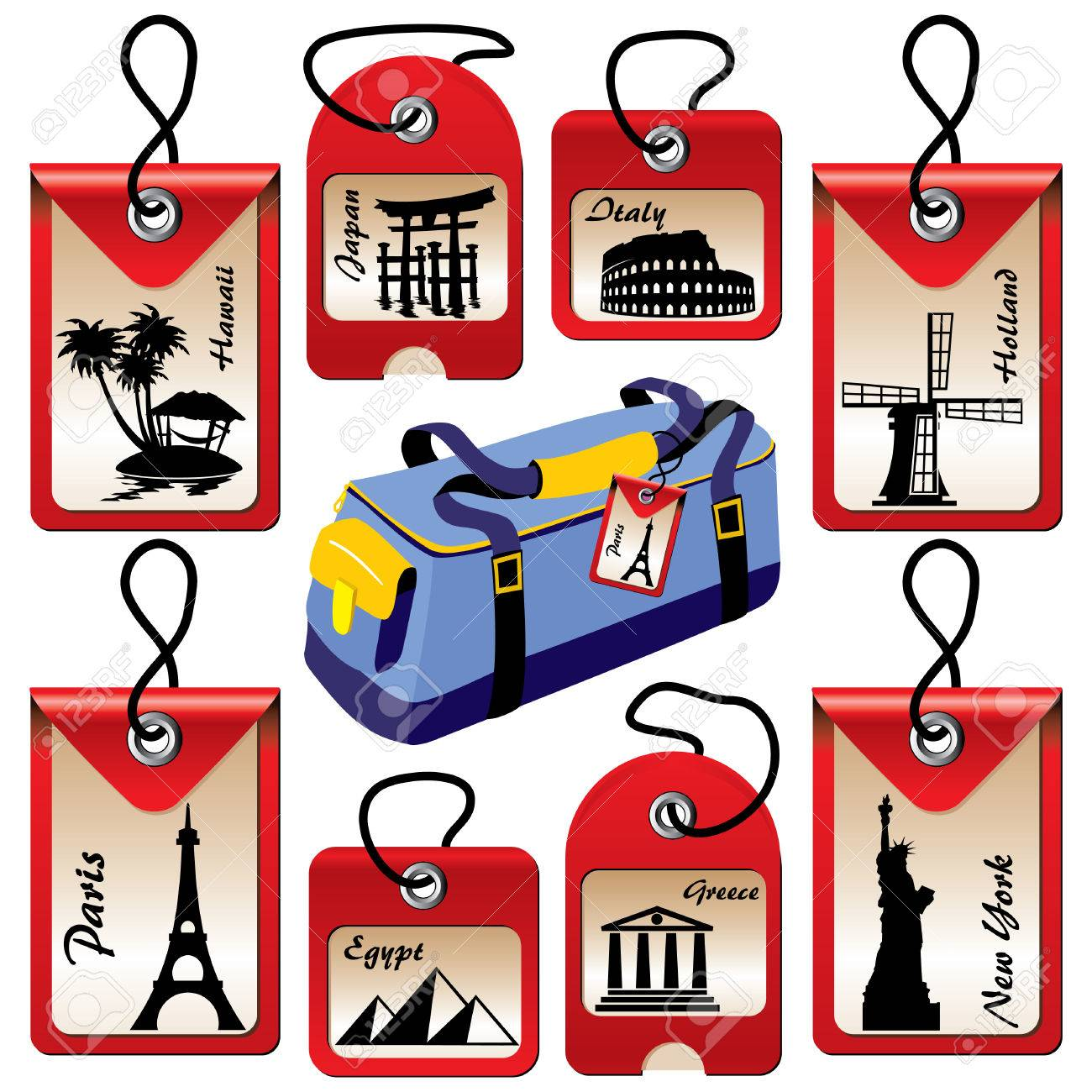 set of labels for travel to various countries Stock Vector - 7441801
