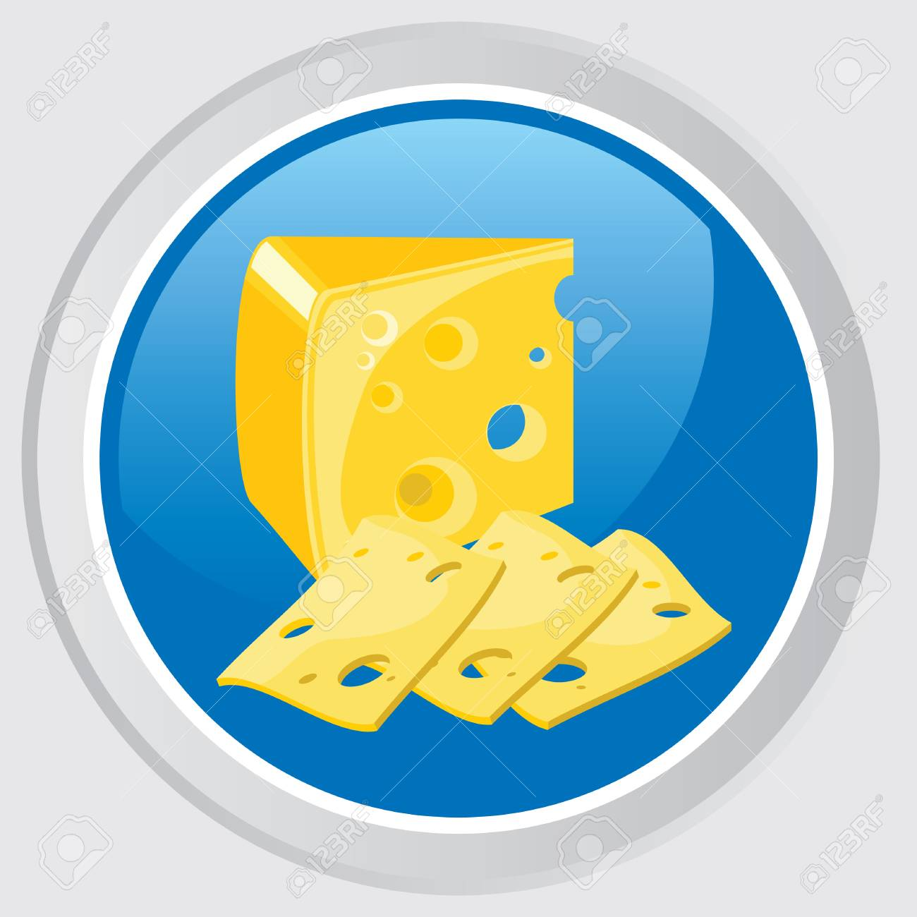 icon. Button with the head cheese and cheese slices Stock Vector - 7584226