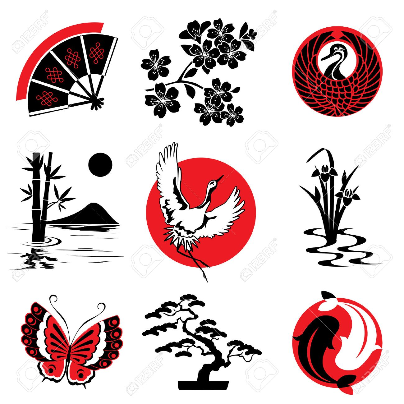 Vector Design Elements In The Japanese Style Royalty Free Cliparts