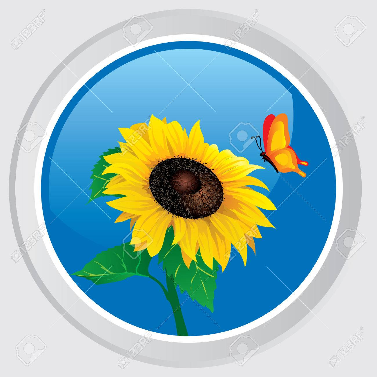 Vector icon. Button with the flower sunflower and butterfly Stock Vector - 7611076