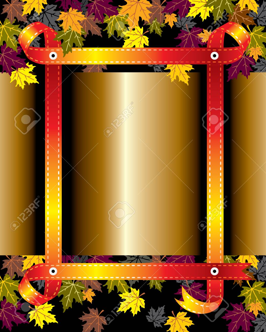 vector background with autumn leaves and ribbon frame Stock Vector - 7850011