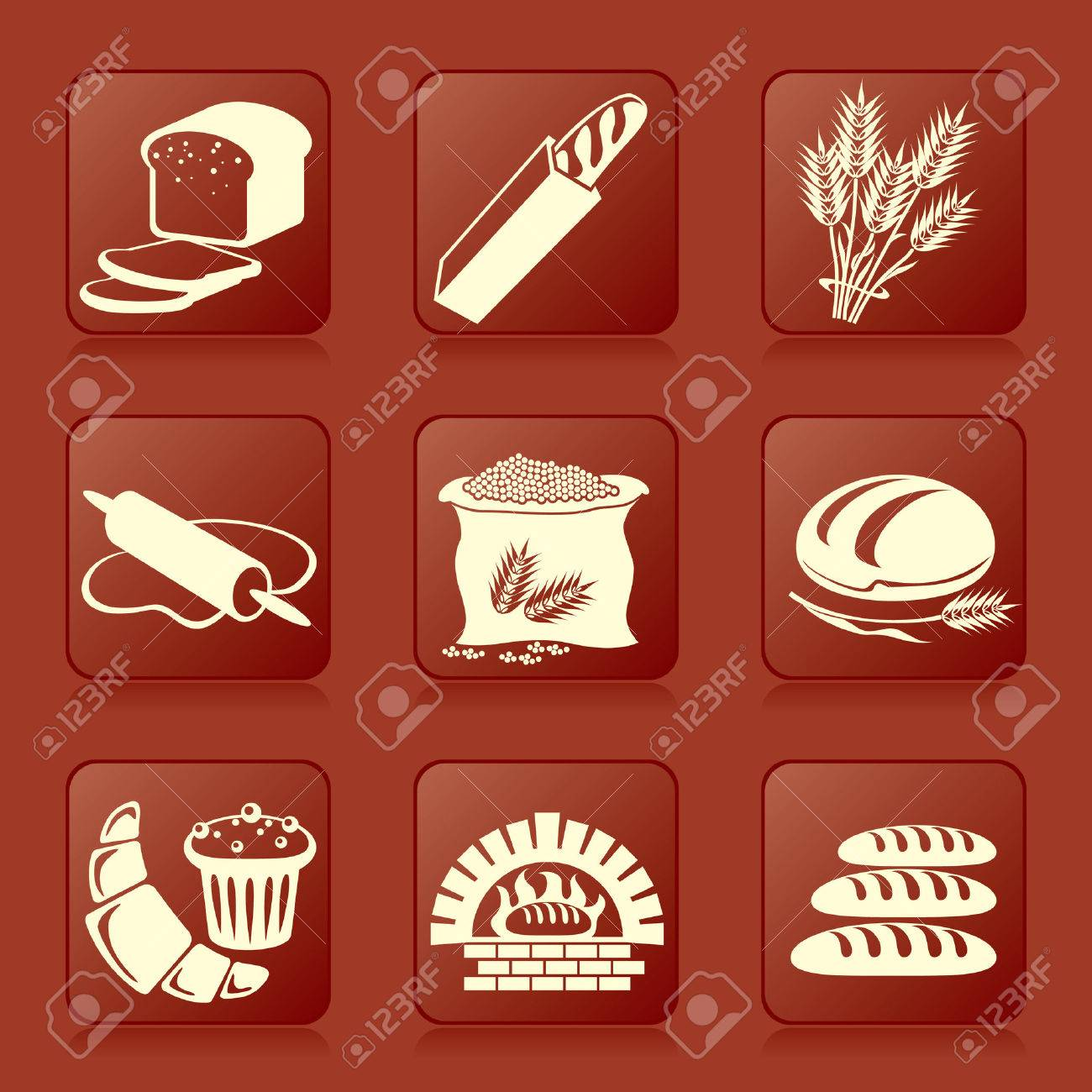 set of vector silhouette icons of bread and pastry Stock Vector - 8408950