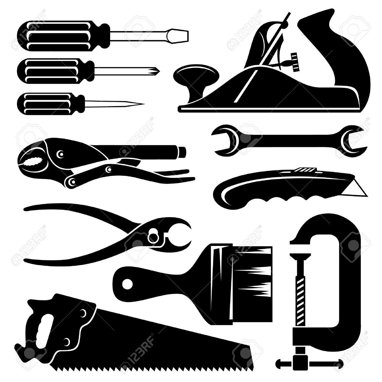set of silhouette icons of hand tools royalty free cliparts vectors rh 123rf com Tools Clip Art hand tool vectors