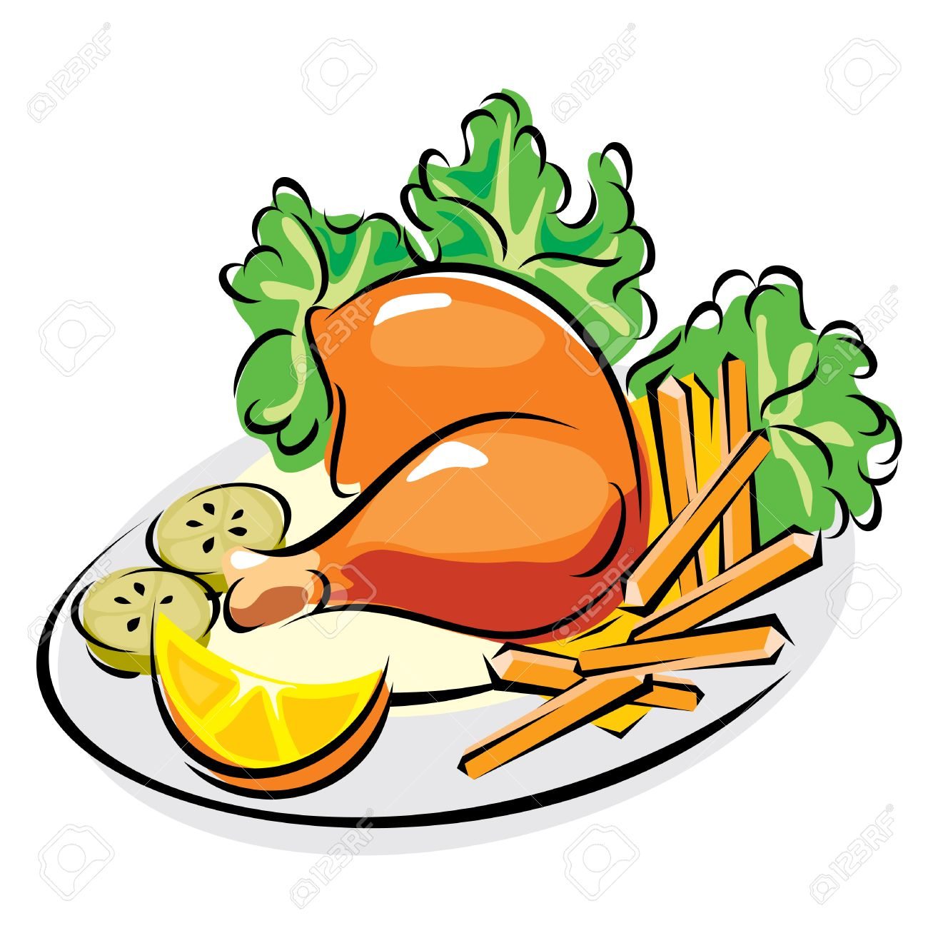 images of roast chicken leg with fried potatoes and vegetables - 8902546