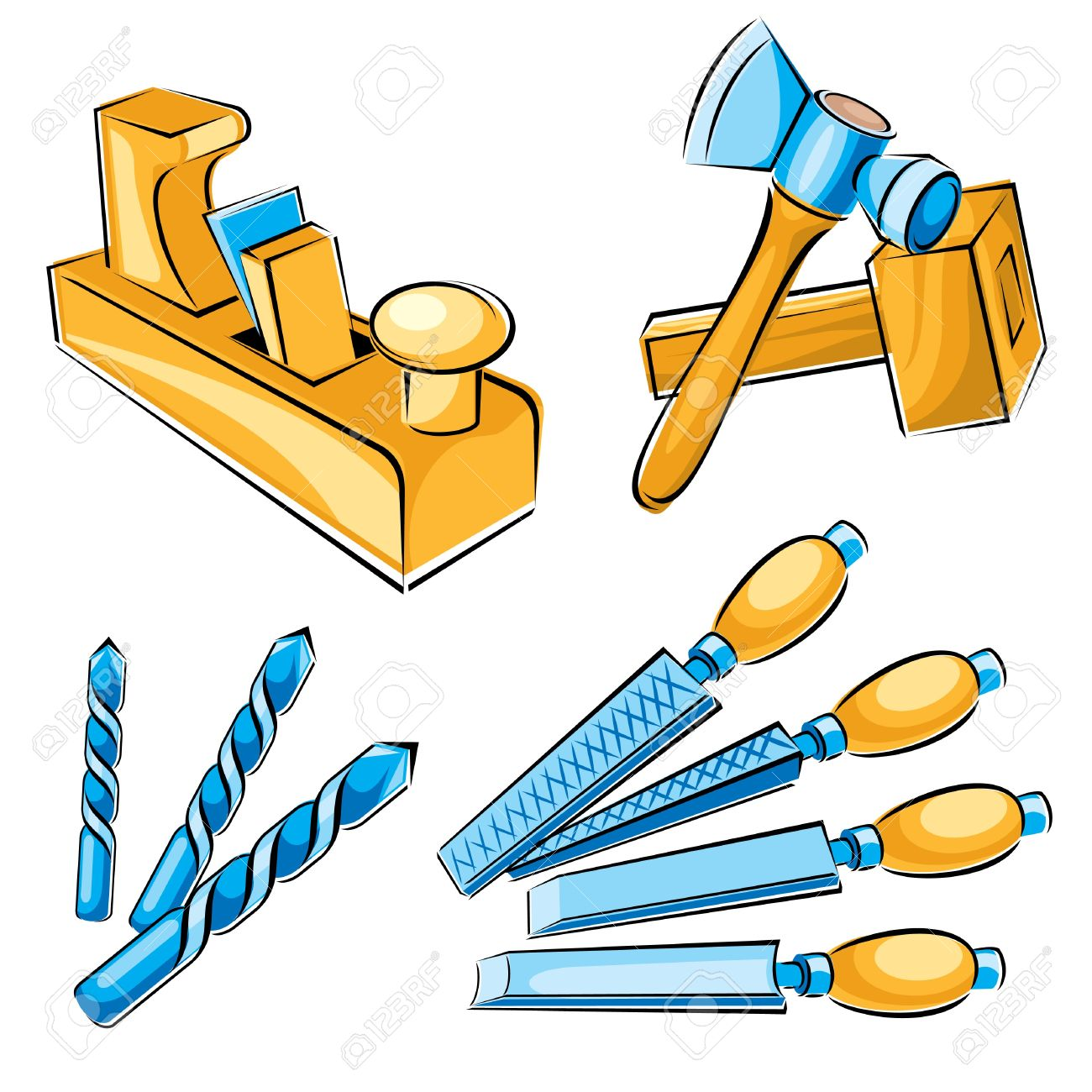 set vector images of hand tools for a joiner Stock Vector - 9224234