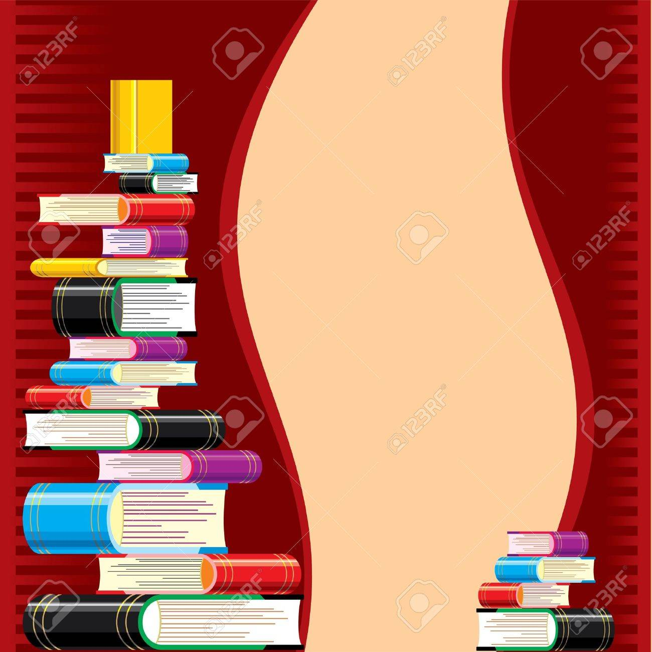 stack of books on a red background. pattern on the theme of reading and education Stock Vector - 9613870