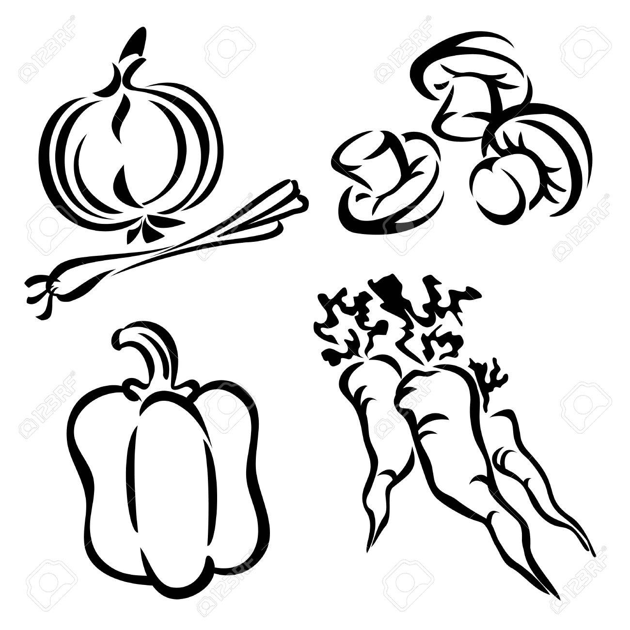set vector images of vegetables royalty free cliparts vectors
