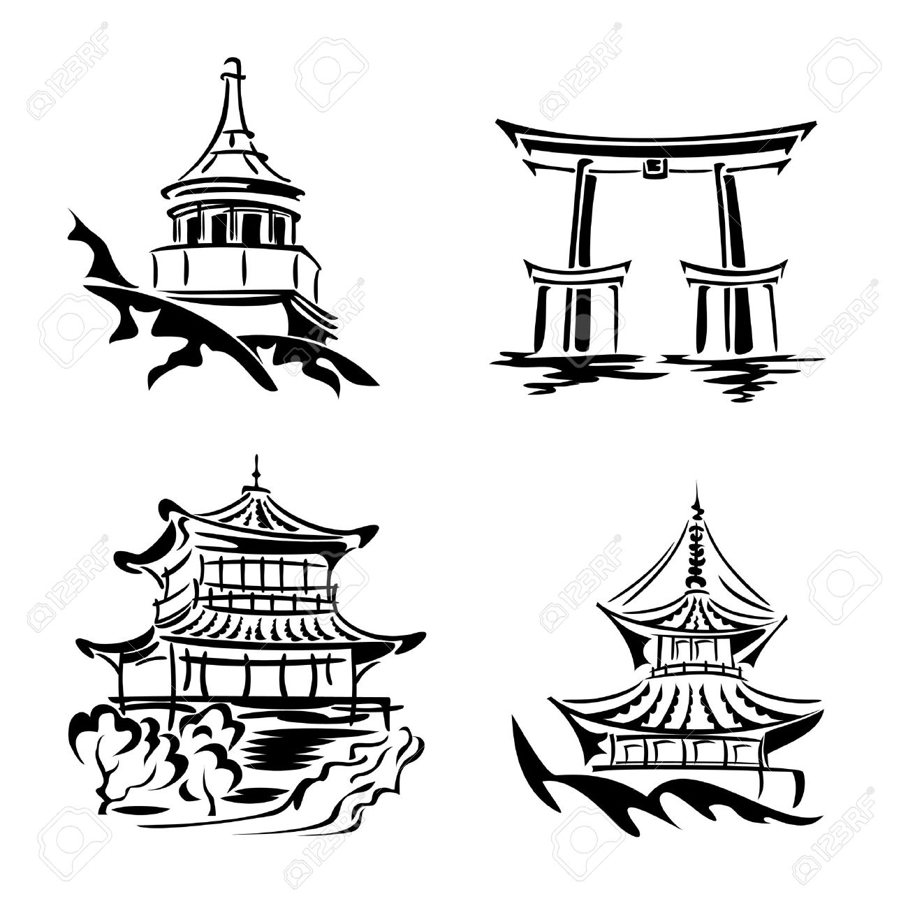 Black And White Images Asian Temples Architecture Stock Vector