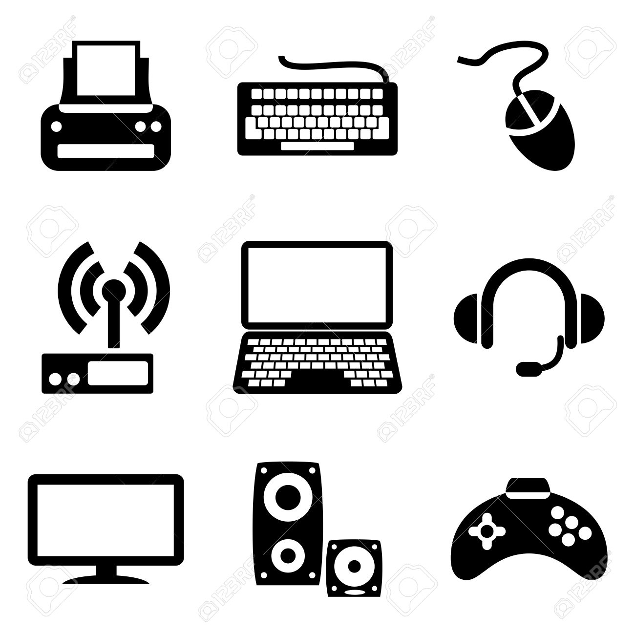 Black Computer Icon Png Vector - set computer icons of