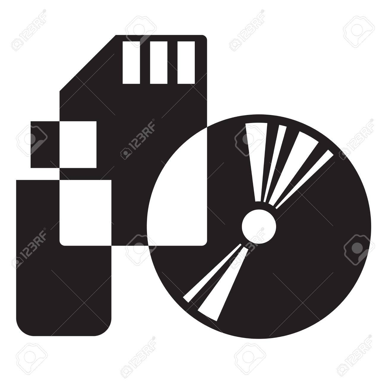 black and white icon of electronic media Stock Vector - 13394876
