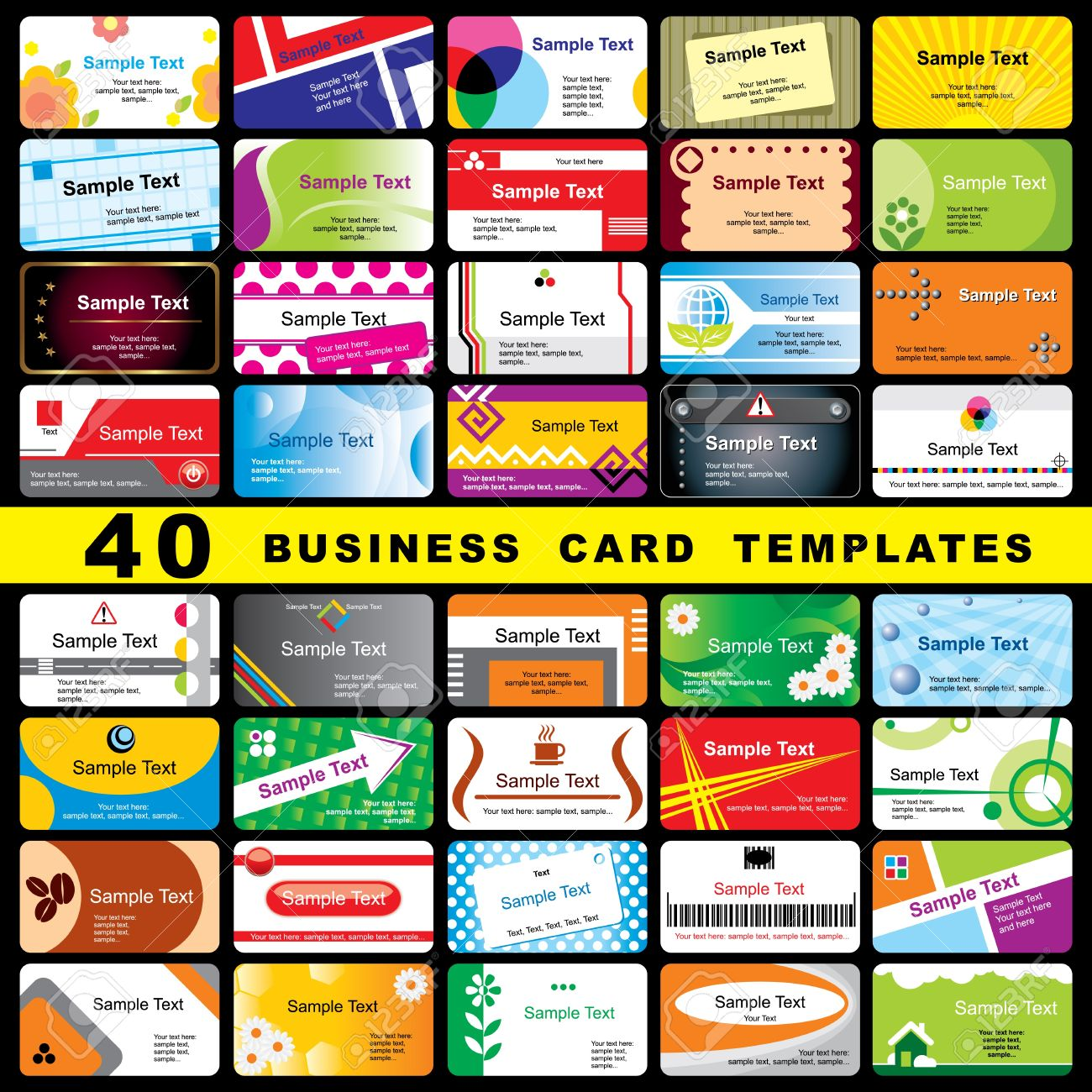 40 color vector template for horizontal business cards Stock Vector - 13451536